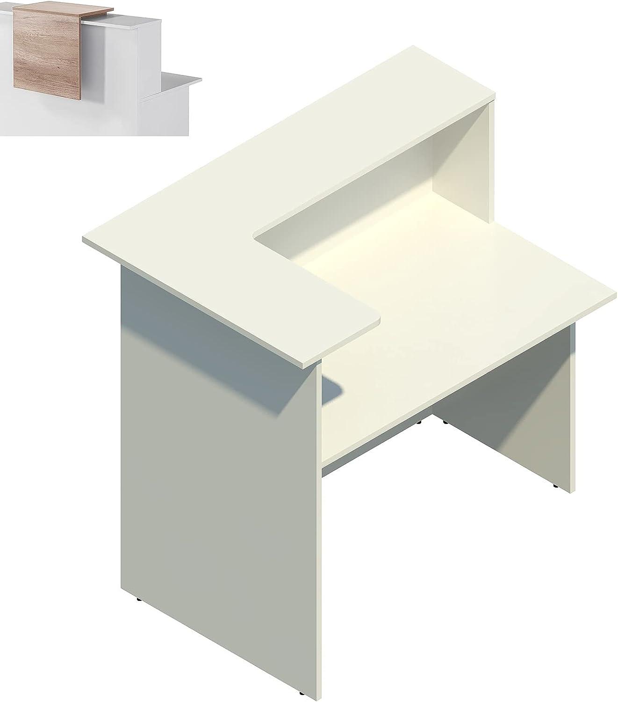 MOSTRADOR RECEPCIÓN Profesional para Pegar a la Pared, Color Blanco. Medidas de 120 cm. Ancho X 115 cm. Alto X 80 cm. Hondo, Fabricado EN ESPAÑA (Olmo)