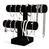 ShellKingdom Jewelry Display, 2 Tier Jewelry Holder for Necklace Bracelet and Watch Display, Table Top Holder Display Stand,Velvet T Bar Jewelry Tower (2 tier)
