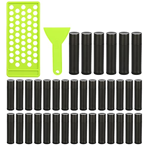 RONRONS Professional Lipsticks Filling Tray Kits, Including 1 Pieces Lip Balms Filling Tray 1 Pieces Spatula and 50 Pieces Empty Lip Balm Tubes with Caps DIY Lipstick Gifts for Women Grils Business