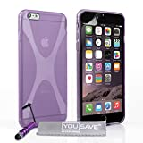 Yousave Accessories Silicone X-Line Cover with Mini Stylus Pen for iPhone 6 Plus - Purple
