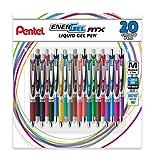 Pentel EnerGel RTX Retractable Liquid Gel Ink Pen, (0.7mm) Medium, Assorted Ink, 20 Pack (BL77BP20M), Assorted
