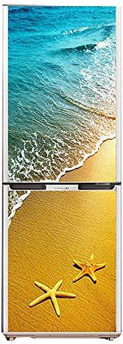 Dmygo 3D Porta Frigo Adesivi Corridoio Decalcomanie murale della Parete Beach Mare Luce del Sole di coperture del Modello Autoadesivo da Parati Stickers, 60X180cm (23.6''X70.8 '')
