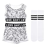moily Kids Girls Boys Sequins Modern Jazz Hip Hop Dance Stage Performing Outfit Crop Top with Shorts Socks Silver 12-14