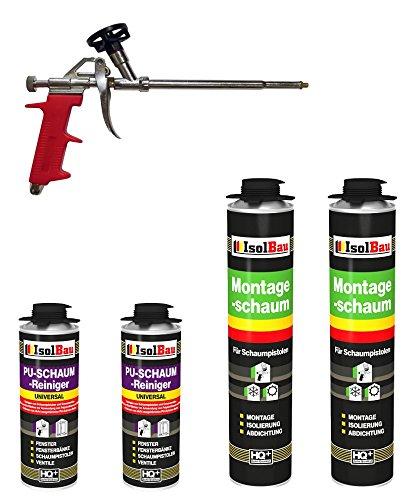 SET Pistolenschaum 2 Dose 750 ml Montageschaum 1K Bauschaum PU-Schaum + 2 Reiniger + 1 Schaumpistole