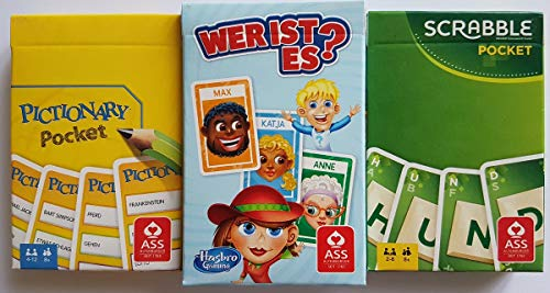 Rewe 2018 Kartenspiel - PICTIONARY + WER IST ES? + Scrabble - Pocket Version - OVP