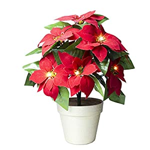 Christmas Flower Artificial Red Poinsettia Light Gold Pot Plant Battery Operated 6 Hour Timer for Home Decoration and Gift