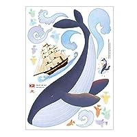 ケイ・ララ ウォールステッカー 海 [鯨 (クジラ) と船] おしゃれ DIY 壁紙 シール ウォールシール はがせる 壁シール