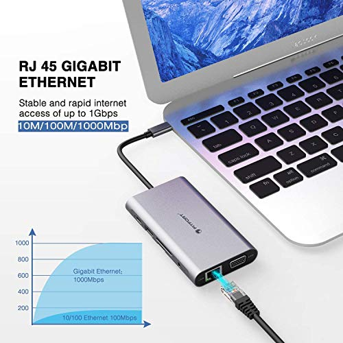 FITFORT USB C Adapter, DUAL-Display, 12 Port Aluminium USB C Hub,mit 4K-HDMI,VGA,USB 3.0 Ports,Type C PD,Gigablit Ethernet RJ45,SD/TF-Kartenles,kompatibel für MacBook Pro/Air, More Type C Geräte
