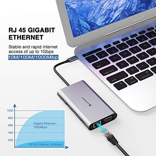 FITFORT USB C Adapter, DUAL-Display, 12 Port Aluminium USB C Hub,mit 4K-HDMI,VGA,USB 3.0 Ports,Type C PD,Gigablit Ethernet RJ45,SD/TF-Kartenles,kompatibel für MacBook Pro/Air, More Type C Geräte