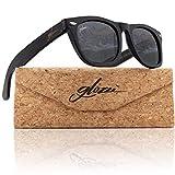glozzi Gafas de sol de madera de bambú para hombres y mujeres polarizadas UV 400 Categoría 3 con estuche - Negro