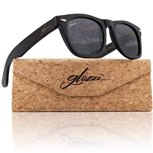 glozzi Bambus Holz Sonnenbrille für Damen & Herren - Polarisierte & Verspiegelte Brillengläser UV 400 Kategorie 3 - Mit Brillenetui aus Kork - Schwarz