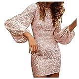Riou Donna Vestito con Paillettes Corto Manica Lunga Cerimonia Vestiti Elegante Mini Abito da Sera Partito Festa Banchetto Lustrini Moda Aderente Vestito