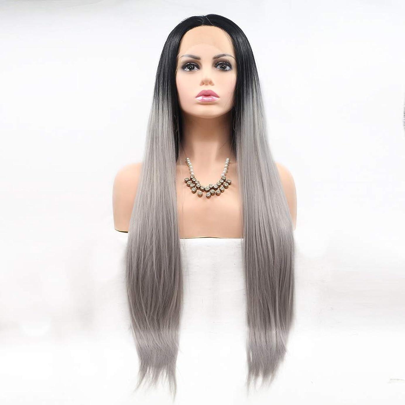 旅行者一握りがんばり続けるZXF 染め女性のヨーロッパとアメリカのかつらは化学繊維かつらの髪のセットの真ん中にセット - 黒 - グレー - グラデーション - 長いストレートの髪 美しい