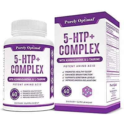 Premium 5-HTP Plus Supplement 250mg Max Strength - Serotonin Production Support, Aids Sleep, Mood Boost, Promotes Calm & Relaxation - with Vitamin B6, Gluten-Free - 60 Veggie Capsules