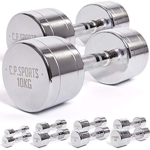 C.P. Sports - Manubri cromati da 0,5 kg, 1,5 kg, 2 kg, 2,5 kg, 3 kg, 4 kg, 5 kg, 6 kg, 7 kg, 8 kg, 9 kg, 10 kg, coppia di manubri, 2 x 2,0 kg