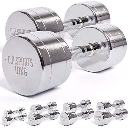 C.P. Sports Chromhantel 0,5KG - 1KG - 1,5KG - 2KG - 2,5KG - 3KG - 4KG - 5KG - 6KG - 7KG - 8KG - 9KG - 10KG - Paare Kurzhantel, Hanteln Kurzhantel Set, Chromhanteln, Hantelständer