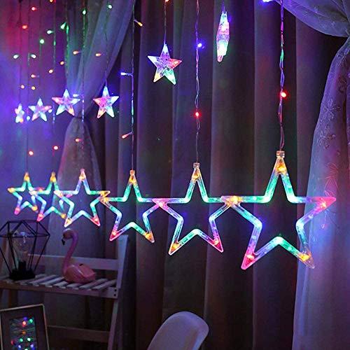 Surakey 12 Stern LED Lichterkette 2.5M 138 LEDs Lichterketten,Lichtervorhang Lichter Weihnachtsbeleuchtung Balkonbeleuchtung für Innen Outdoor Weihnachten Partydeko Geburtstag Garten, Bunt