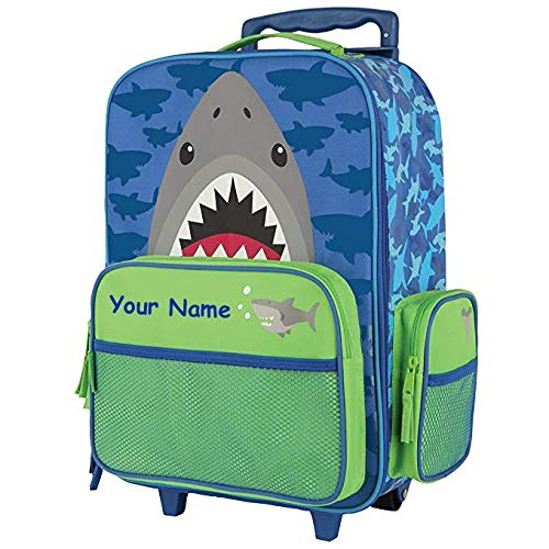 Stephen Joseph Personalized Shark Classic Rolling Luggage Suitcase Carry On Travel Bag - 14.5 Inches