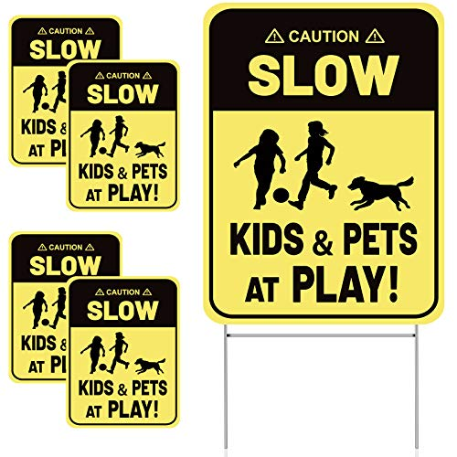 4 Stück Zeichen Verlangsamen mit Metalldraht H Setzt Kids and Pets at Play Yard Sign, Doppelseitige Straßen-Warnschilder zum Drinnen Draußen