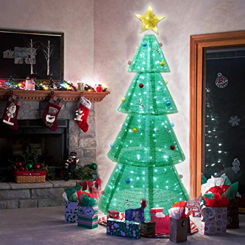 XUEYU 6Ft Lighted Christmas Tree Foldable Pop up Yard Decor, Outdoor Indoor Holiday Decorations with LED Lights for Home Lawn