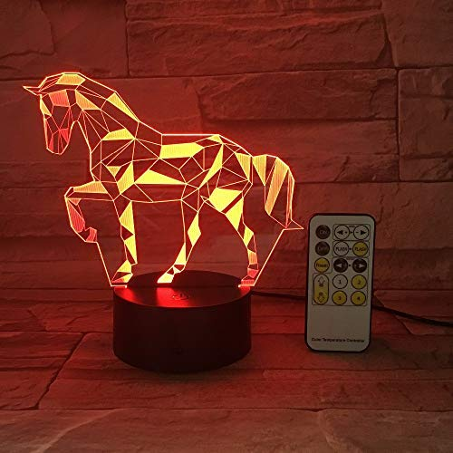 KangYD 3D Night Light Diamond Horse Decor, LED Optical Illusion Lamp, C - Touch Crack White(7 Color), Christmas Gift, Gift for Friend, Colorful Change, USB Powered, Home Decor, Acrylic Panel