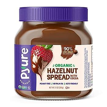 Organic Hazelnut Spread with Cocoa by Pyure | Keto Friendly No Palm Oil Vegan Peanut Free | 90% Less Sugar Than the Market Leading Brand 13 Oz