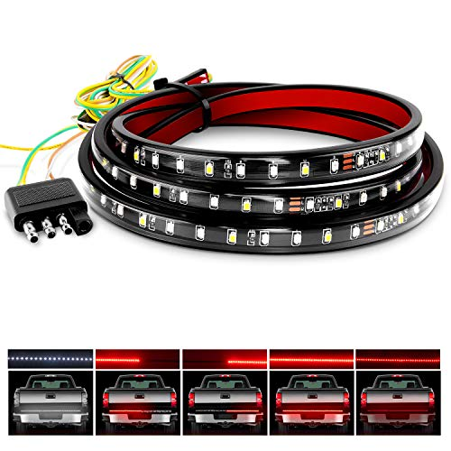 Nilight Truck Tailgate Bar 60' 108 LED Strip with Red Brake White Reverse Sequential Amber Turning Signals Strobe Lights,2 Years Warranty