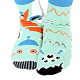 Robot & Alien Outer Space Cosmic Pals Collectible Mismatched Silly Cool Socks for Boys Girls with No Slip Grippers (Ages 4-8)