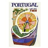 Cartel de pared retro con texto en inglés 'Visit Portugal', cartel de estilo vintage, cartel de Portugal, arte de pared de restaurantes, cafeterías pubs, 8 x 12 pulgadas