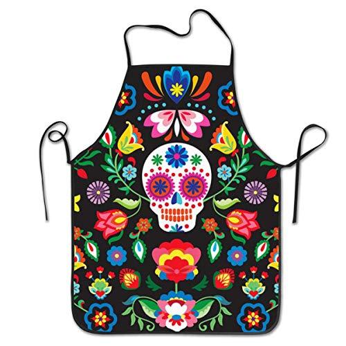 Sampson Milne - Delantal de azúcar mexicano para cocina, impermeable, para el día de los muertos, delantal de cocinero, personalizado para mujer, hombre, delantal de cocina, ideal para lavar la ropa