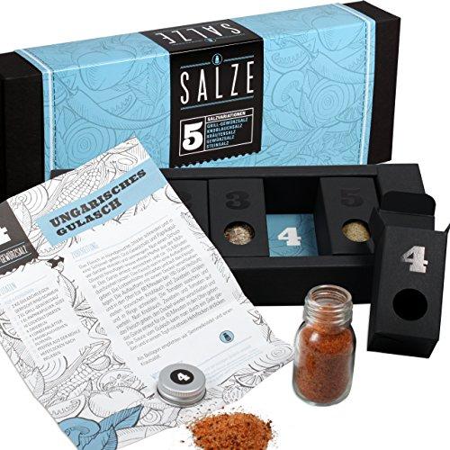Salze aus aller Welt – MeinGenuss Gewürzset Salze – Das perfekte Geschenkset für Geniesser – Originelles Geschenk zum Einzug – 5 Gewürze und Kräuter mit Rezepten