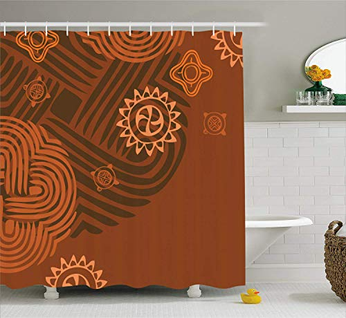 Duschvorhang in Erdtönen, künstlerisch-ethnische Komposition mit floralen Details afrikanischer Folklore, Badezimmer-Dekorset aus Stoff mit Haken, Orangebraun