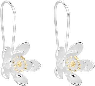 Qiandi Oorbellen met bloemenhanger, eenvoudig design, van 925 sterling zilver, handgemaakt