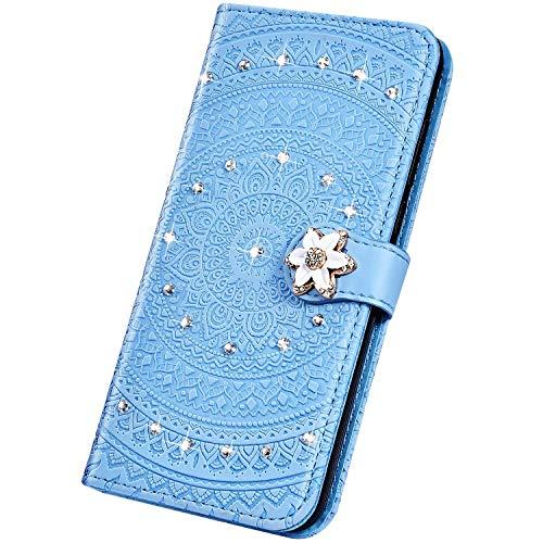 Surakey PU Leder Hülle für Nokia 3.1 2018 Handyhülle Schutzhülle Glitzer Diamant Strass Bling Mandala Blumen PU Leder Brieftasche Flip Case Wallet Tasche Handytasche Ständer Kartenfächer,Blau