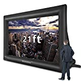 21 Feet Inflatable Outdoor and Indoor Theater Projector Screen - Includes Inflation Fan, Tie-Downs and Storage Bag - Only Supports Front Projection (21FT)