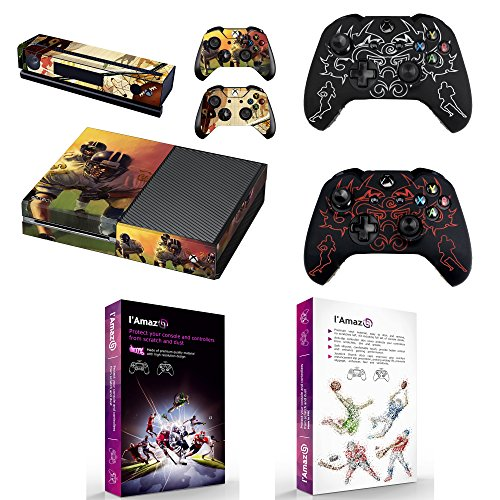 L'Amazo Custom Protective XBOX ONE Skins Bundle Gift Set of console Vinyl decals stickers and 2x controller silicone cover cases in retail Box Gamer Kit American Football Design