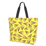 Bolso de hombro Pepperoni Pizza Slice Dibujo de gran capacidad Viaje Bolsa de almacenamiento Bolsa de bolsa para mujeres Estudiantes Compras Viajes