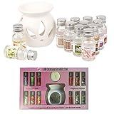 Quemador de aceite Set de regalo con 12 aceites de fragancia, difusor de aceites aroma, terapia, regalo para el hogar