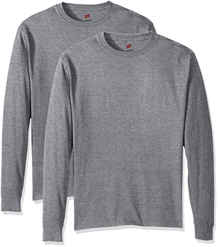 Hanes Men's Comfortsoft Long-Sleeve T-Shirt (Pack of 2), Light Steel,Large