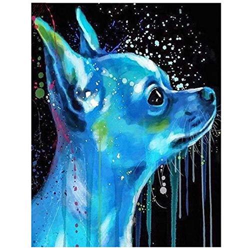 DIY 5D diamante pintura Chihuahua perro mascota rompecabezas diamante cuadrado redondo diamante bordado Cruz puntada pegatina'-30x40cm