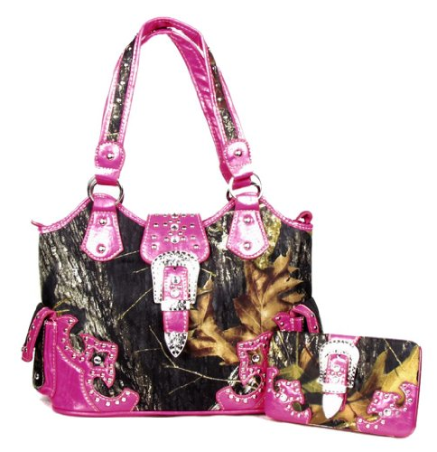 GoCowgirl Large Western Concealed Carry Weapon Belt Buckle Purse Camouflage Handbag Camo Pink W Matching Wallet