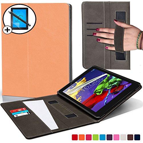 Forefront Cases Lenovo Tab 3 8 / Tab 2 A8-50 Hülle Schutzhülle Tasche Smart Case Cover mit Handschlaufe - Extra Robust R&um-Geräteschutz Smart Auto Schlaf Wach + Stift und Bildschirmschutz (PFIRSICHTON)