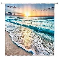 Nextchangeシャワーカーテンオーシャンビーチシーウェーブサンセットランドスケープバスルームカーテン防水装飾セット12フック付き-66x72インチ