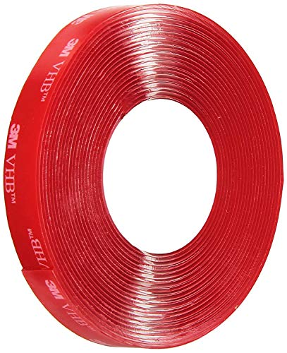"""3M VHB Heavy Duty Mounting Tape 4910, Clear, 1/2"""" x 5 yards, Double Sided, Permanent, High Strength, Long-Term Durability"""