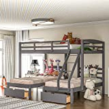 Full Over Twin and Twin Bunk Bed, Wooden Triple Bunk Bed with Drawers for Kids Girls Boys, Space-Saving Bunk Beds for 3, Gray