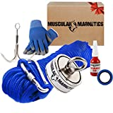 1225lb Double Sided Fishing Magnet Bundle Pack - Includes 6mm 100ft High Strength Nylon Rope with Carabiner, Non-Slip Nylon Gloves, Threadlocker, Grappling Hook & Tape (Complete Kit)