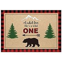 Allenjoy 7x5ft He A Wild One Lumberjack バースデー背景幕 男の子用 初めての赤 黒 バッファロー格子柄 キャンプ アドベンチャー 部族 パーティー イベント テーブル装飾 バナー 背景 子供写真ブース撮影