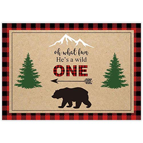 Allenjoy 7x5ft Hes A Wild One Lumberjack Birthday Backdrop for Boys 1st First Red Black Buffalo Plaid Camping Adventure Tribal Party Event Table Decor Banner Background Children Photo Booth Shoot
