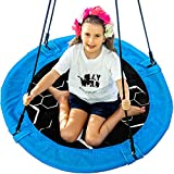 Saucer Tree Swing - 40' Round Outdoor Swing Set - NEW Improved 2020 - Attaches to Trees or Existing Swing Sets - Create Your Own Backyard Playground - Adjustable Hanging Ropes - Kids, Adults and Teens