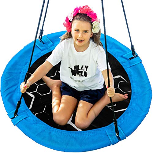 "Saucer Tree Swing - 40"" Round Outdoor Swing Set - NEW Improved 2020 - Attaches to Trees or Existing Swing Sets - Create Your Own Backyard Playground - Adjustable Hanging Ropes - Kids, Adults and Teens"